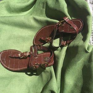 Tory Burch T Strap Flat Buckle Sandal 6/7 Brown
